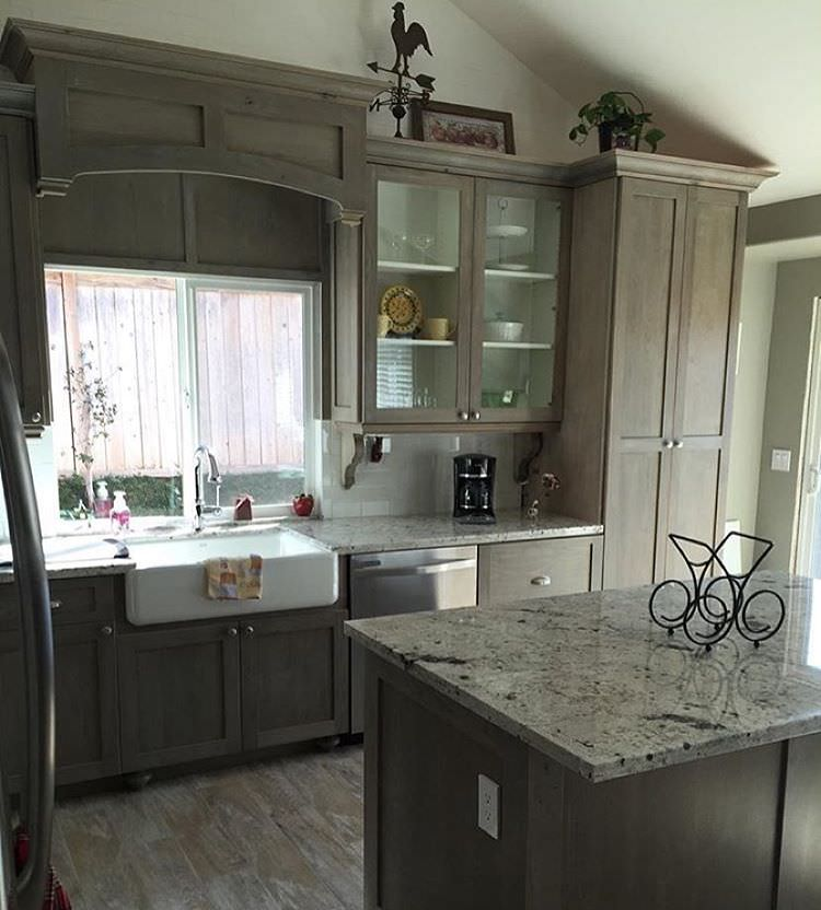 Custom Country kitchen With Grey Cabinets