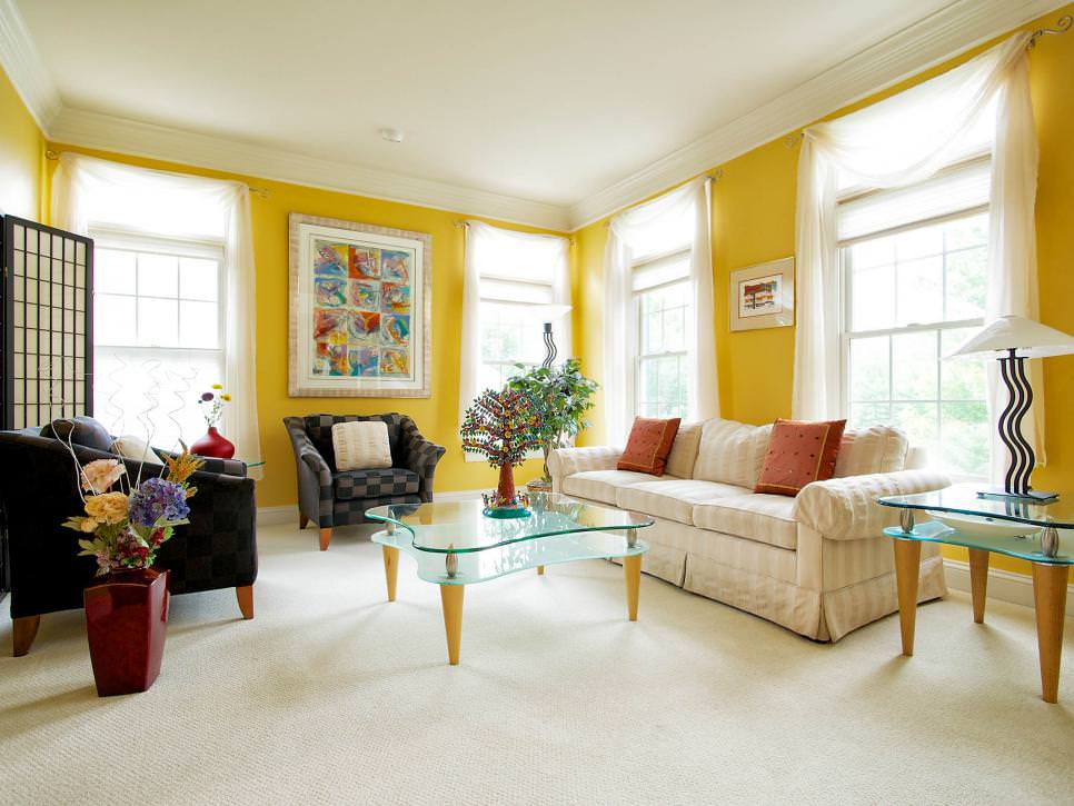 Yellow contemporary living room artwork