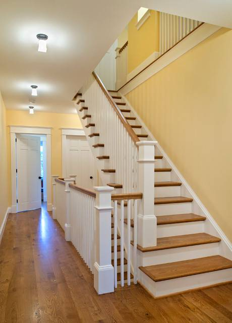 Yellow color traditional staircase
