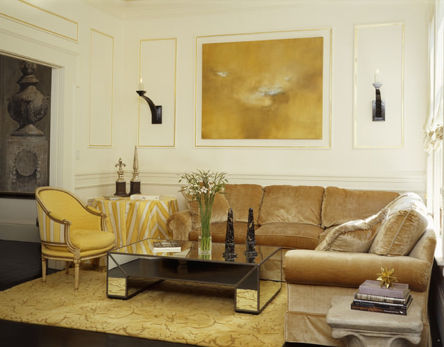 Yellow color eclectic living room