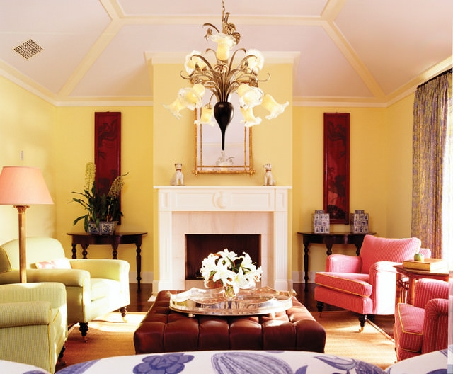 Contemporary living room with yellow color