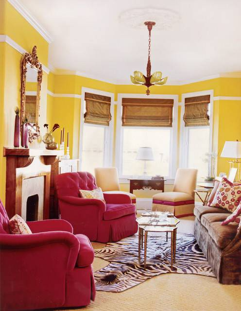 Victorian living room with yellow color
