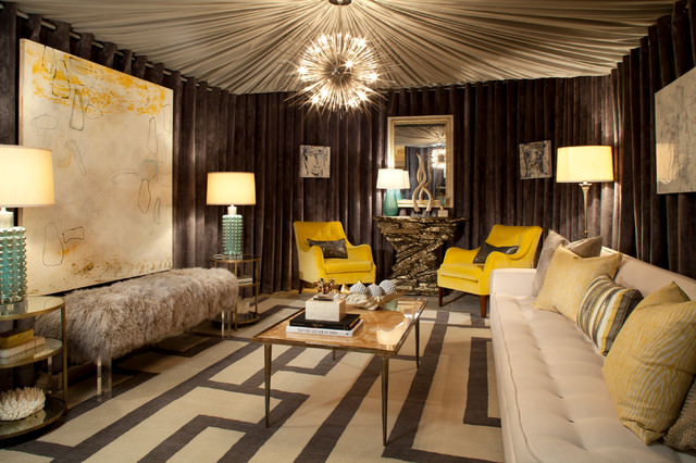 Design Show House with yellow color furniture Villa DeLuxe