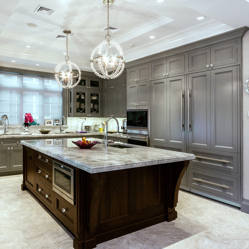 Traditional Kitchen With Grey Cabinets