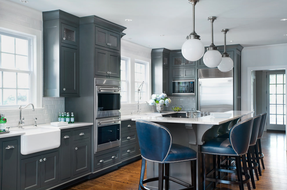 24 grey kitchen cabinets designs decorating ideas for Dark blue kitchen cabinets