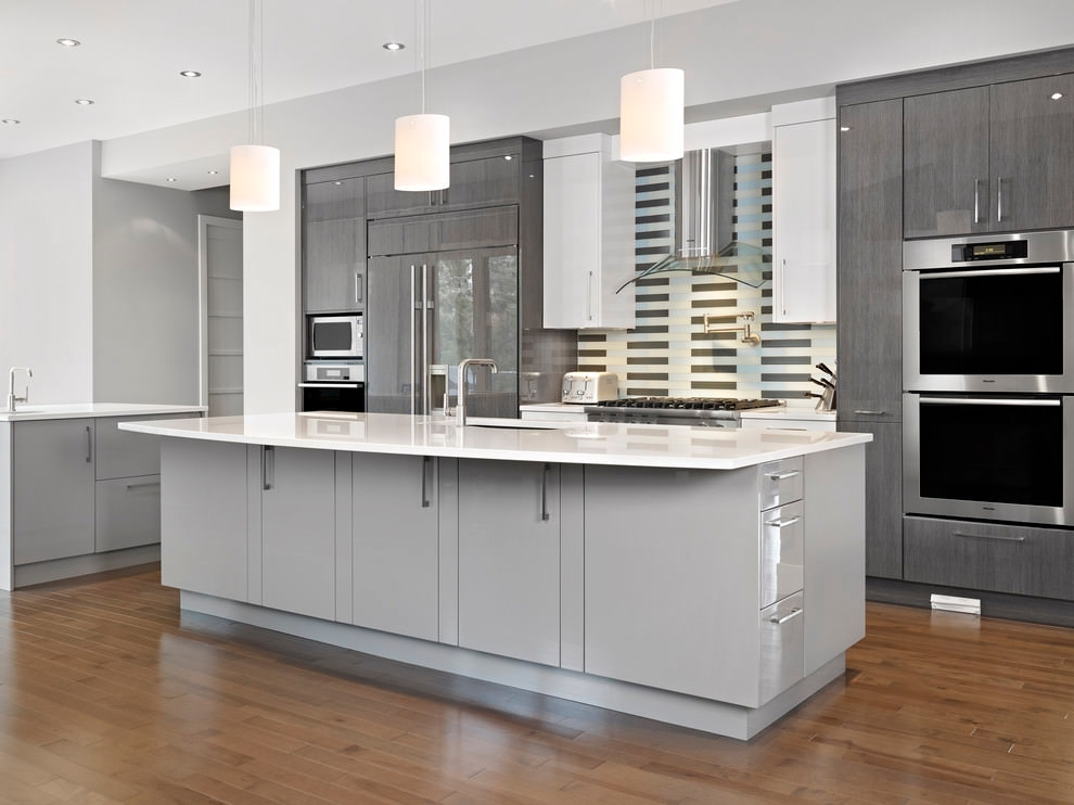 Elegant White Kitchen Grey Cabinets