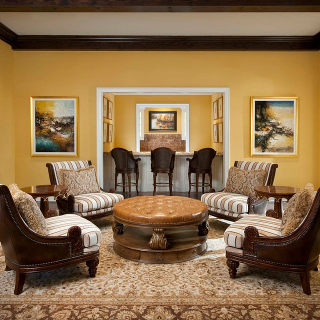 Yellow color mediterranean living room