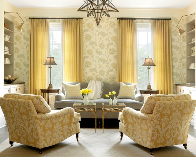 Awesome yellow color flora design living room
