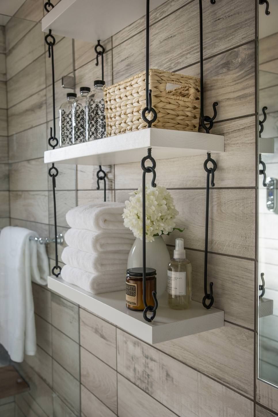 23 hanging wall shelves furniture designs ideas plans for What to hang on bathroom walls