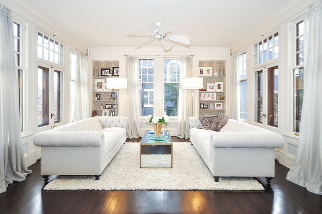 transitional living room with white color