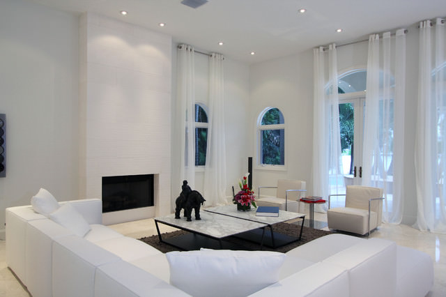 modren white living room