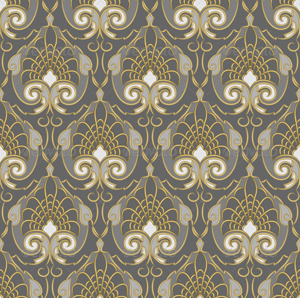 gold pattern on silver background