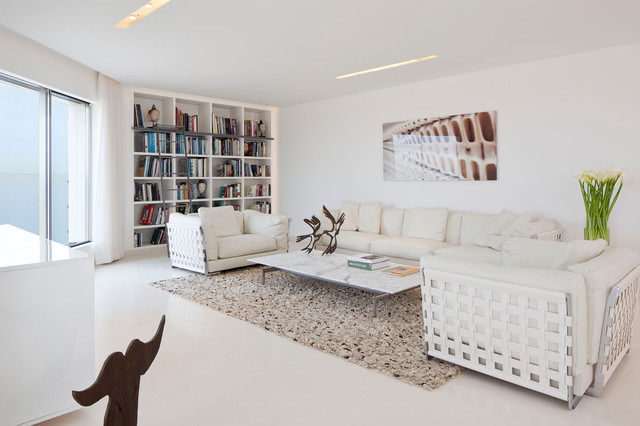 cool white modern living room