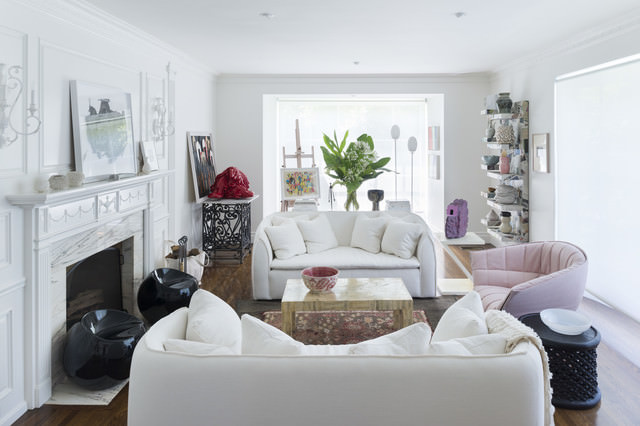 trendy white transitional living room