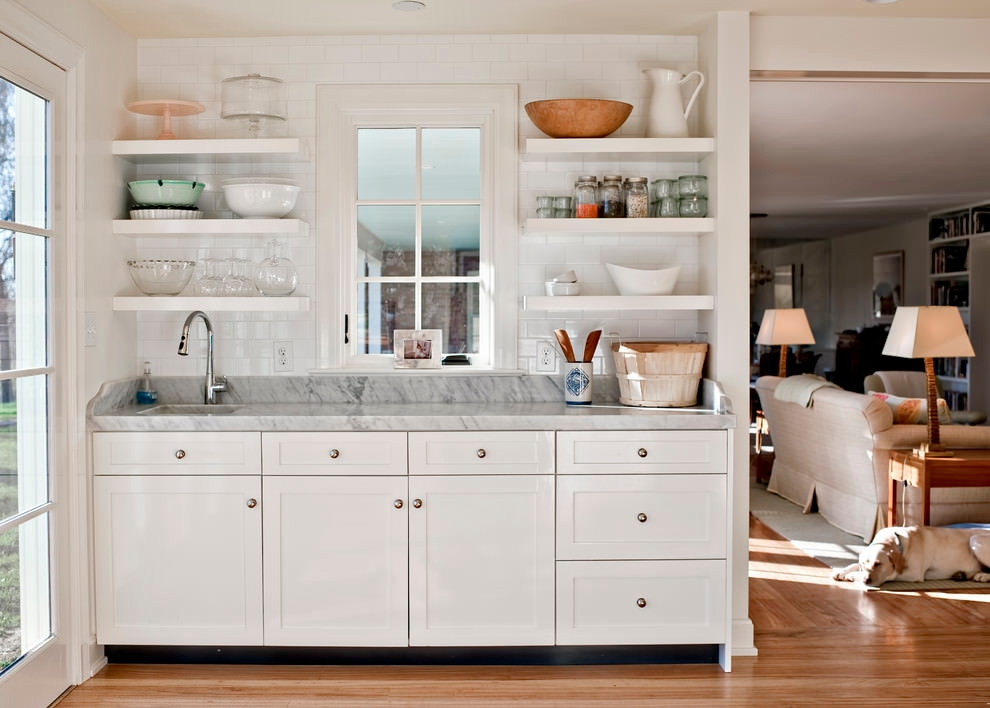 White Contemporary Kitchen Shelves