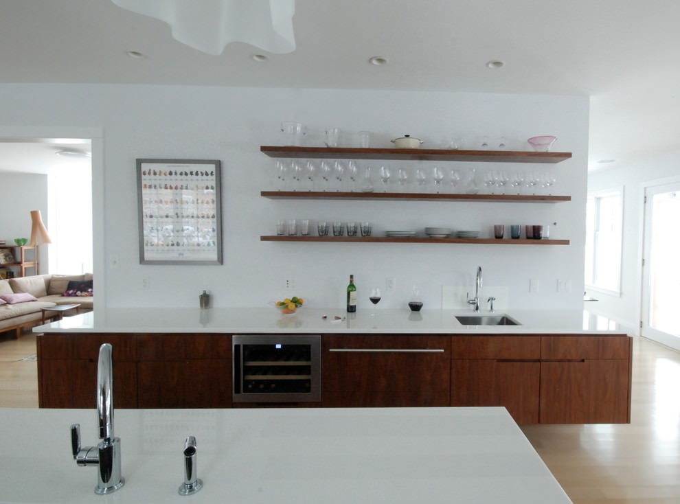 Classy White Kitchen Wooden Shelves Design