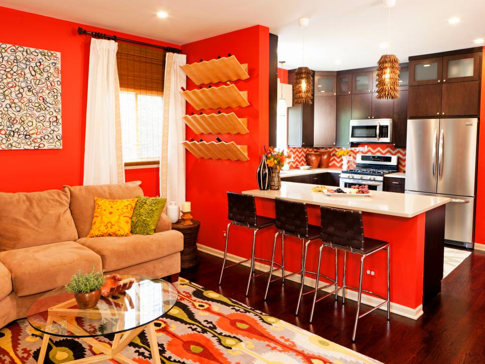 orange living room with open kitchen - Orange Living Room Design