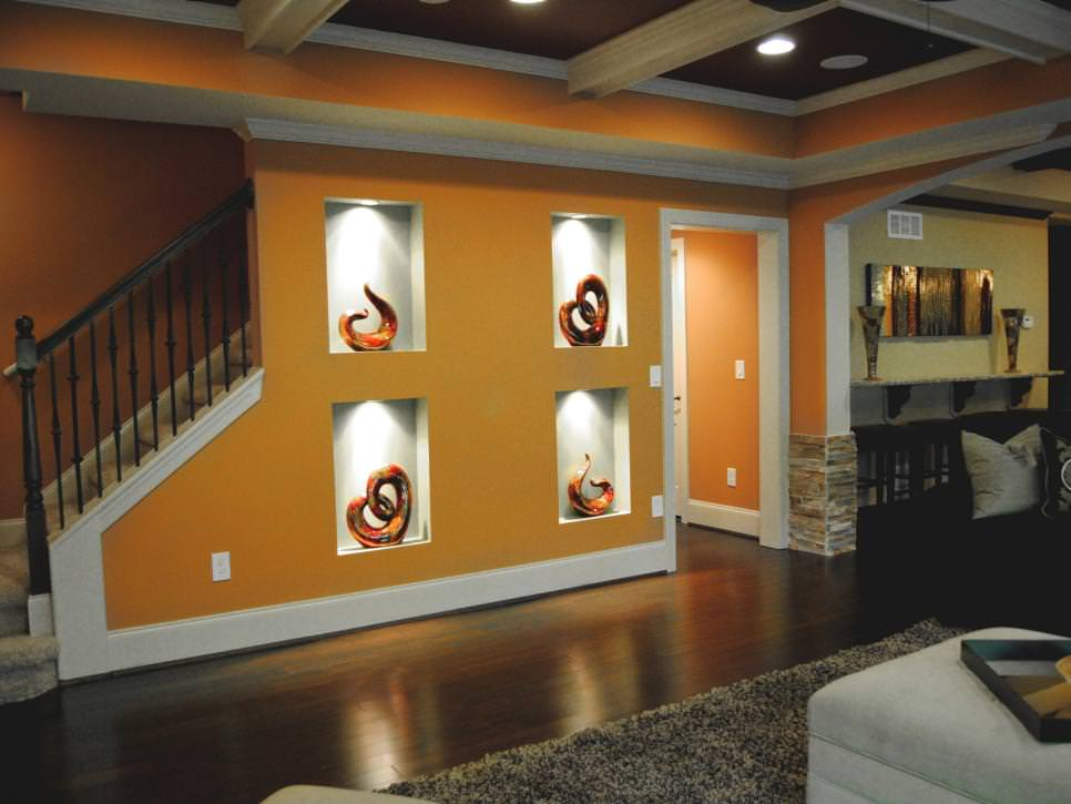 Orange Living Room with Wall Alcoves