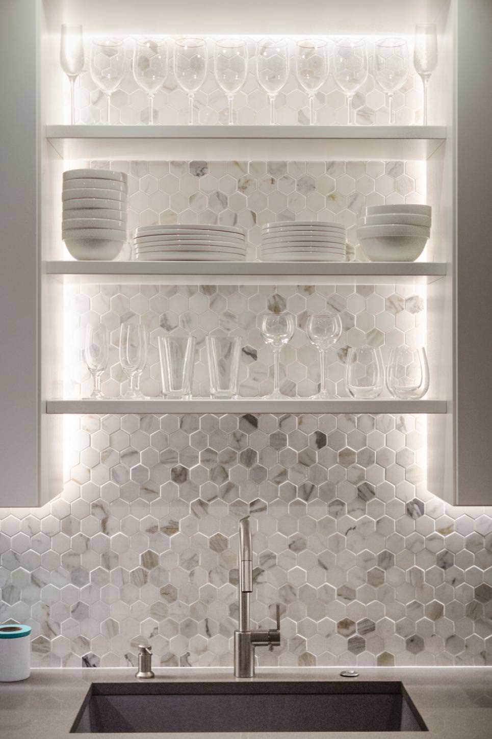 Crystal Shining White Kitchen Shelving Designs