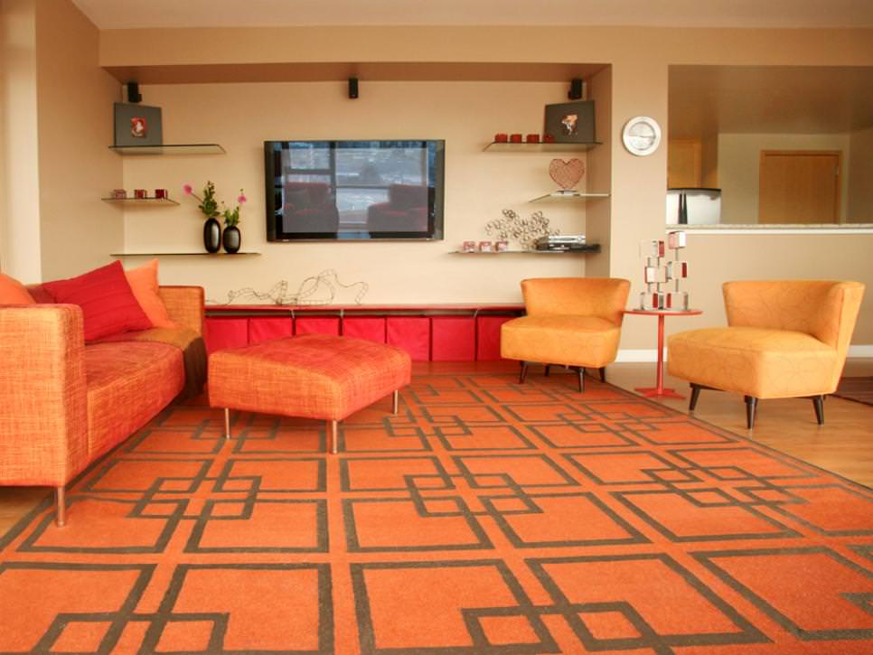 Retro orange living room