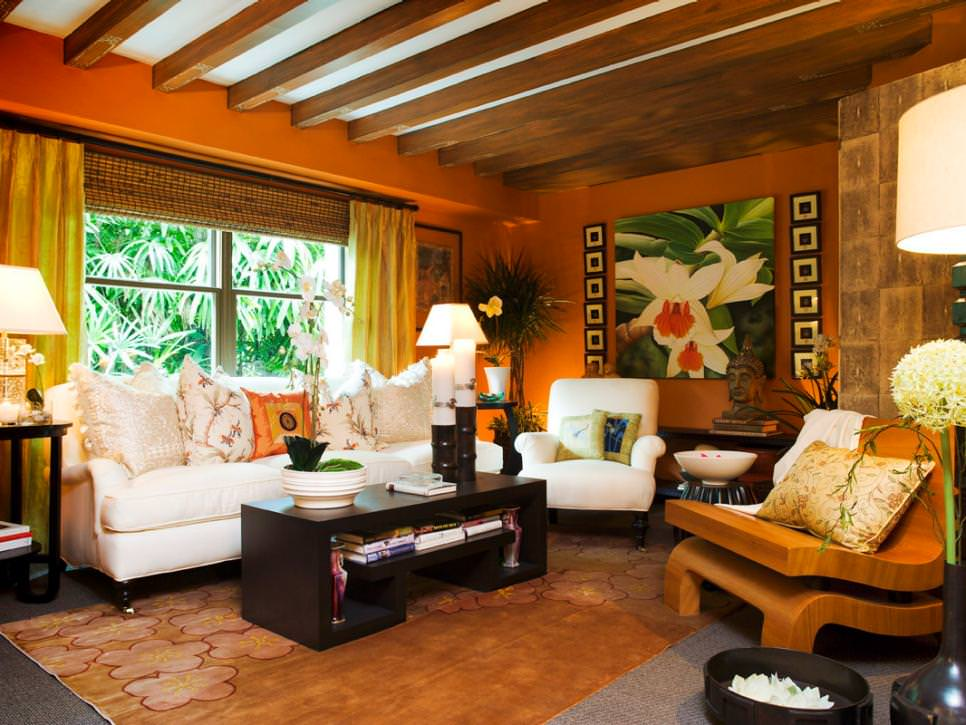 tropical orange living room with exposed beam ceiling - Orange Living Room Design