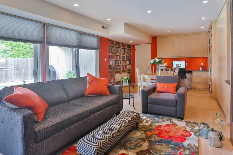 Contemporary Orange Great Room
