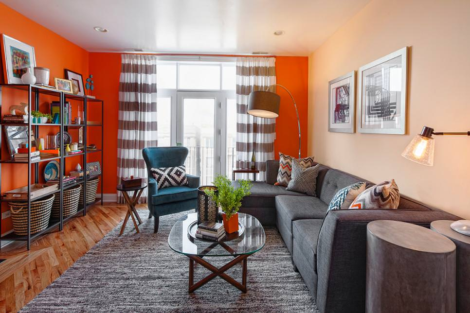 19 orange living room designs decorating ideas design for Grey and orange living room ideas