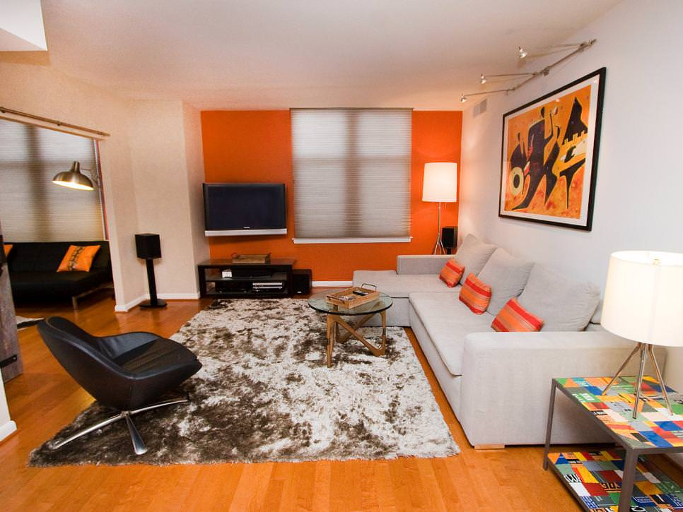 Contemporary Orange And White Living Room Part 2