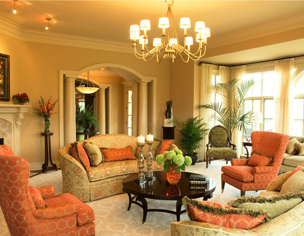 19 orange living room designs decorating ideas design for Colorful living room furniture