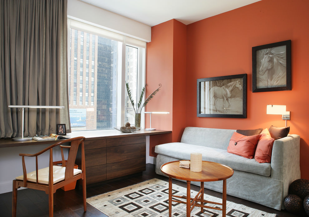 Orange living room contemporary home office