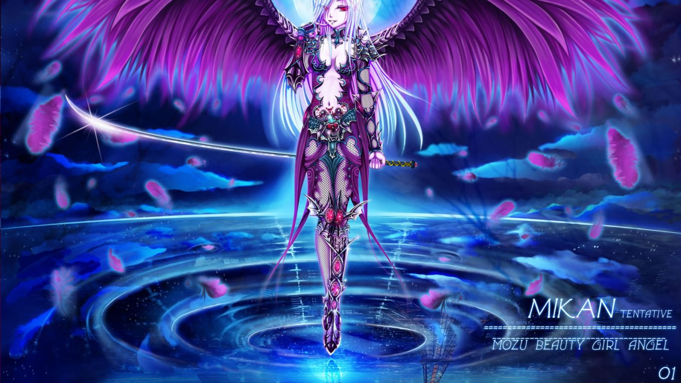 angle with purle wings