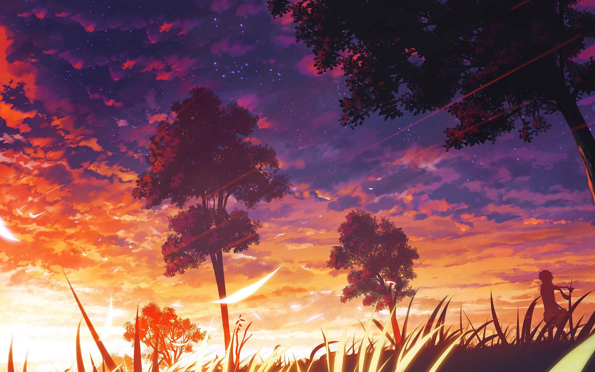 Sunset Anime Girl