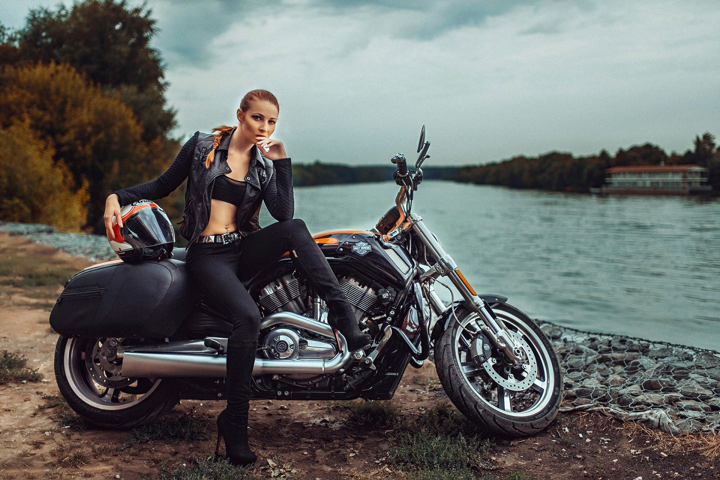 Beautiful Girl with Harley Davidson