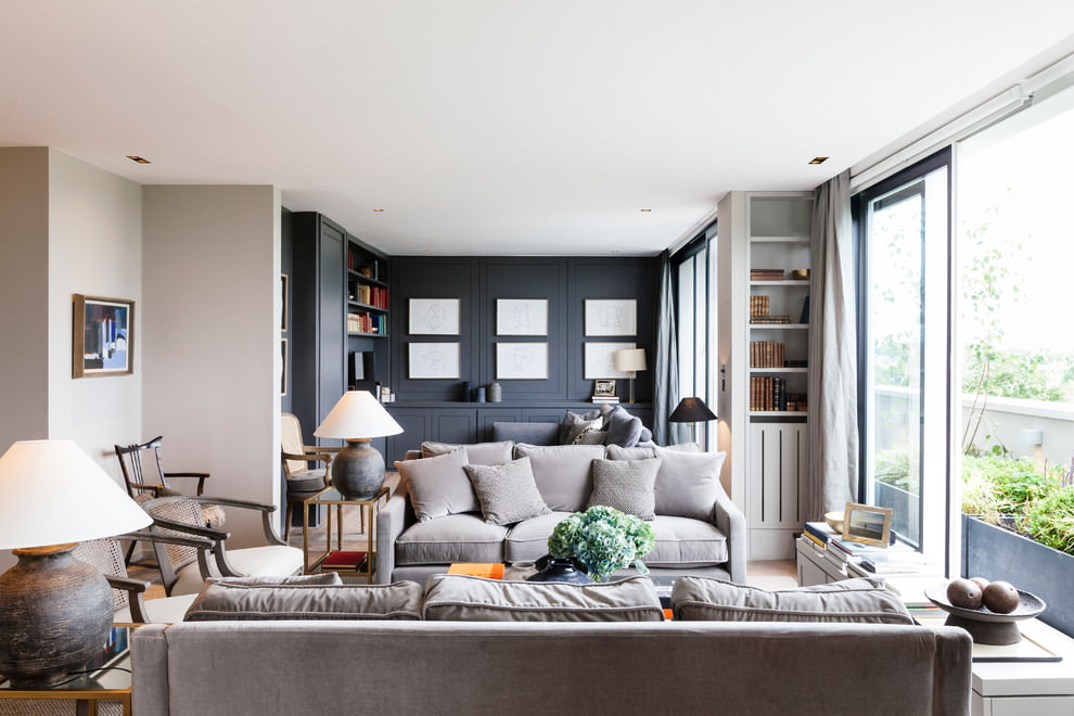 Transitional Living Room Grey Sofa
