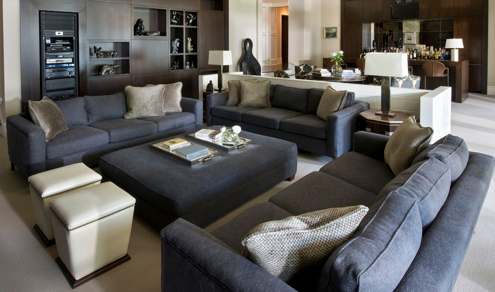 Cozy Living Room Grey Sofa Set