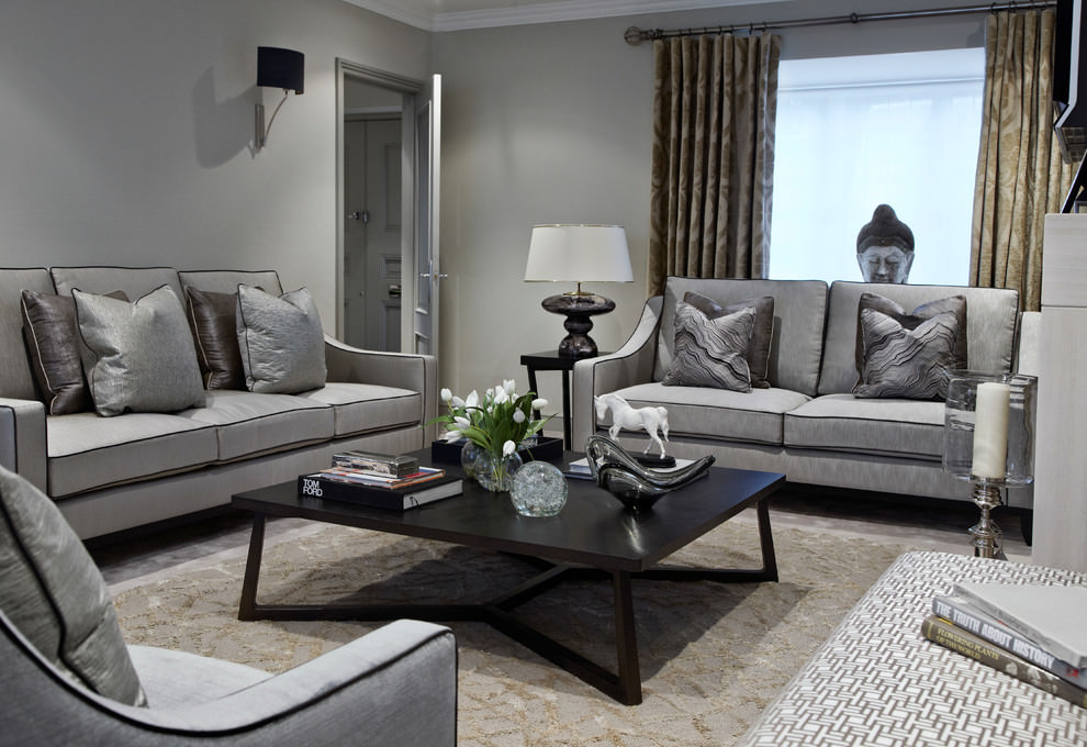 Contemporary Living Room Grey Sofa Set
