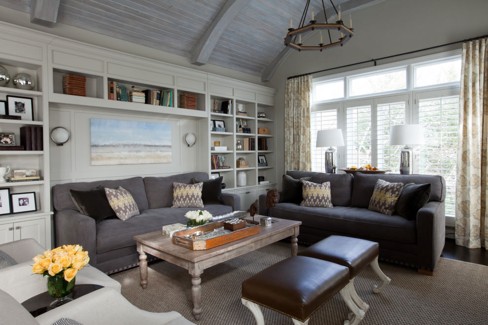 Eclectic Living Room Grey Sofa