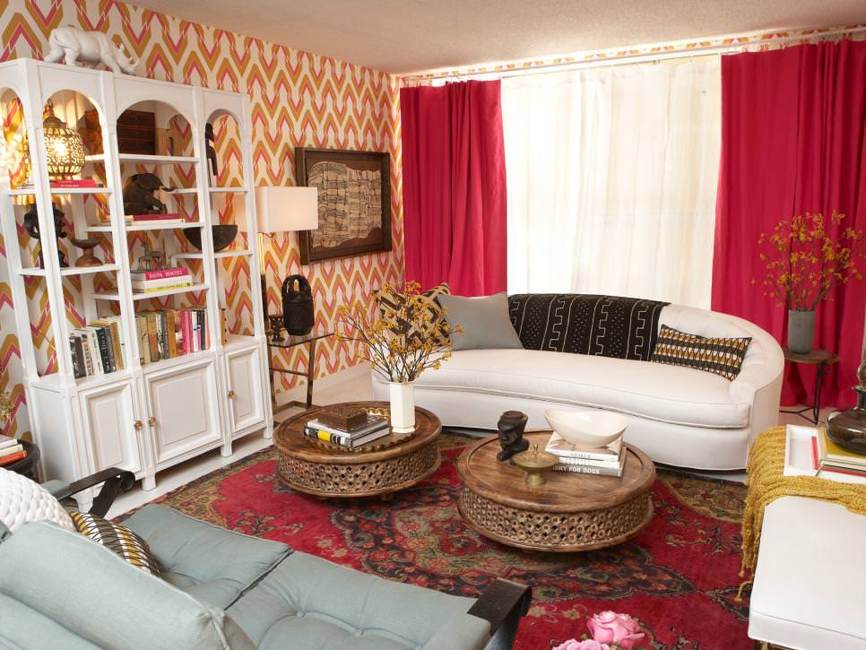 Eclectic Pink and Gold Living Room