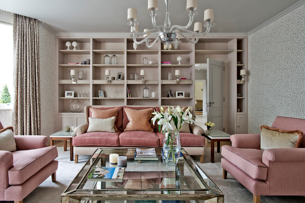 Glam pink contemporary living room