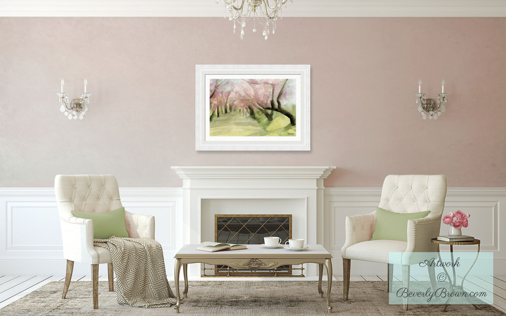 blush pink living room with spring cherry blossom art