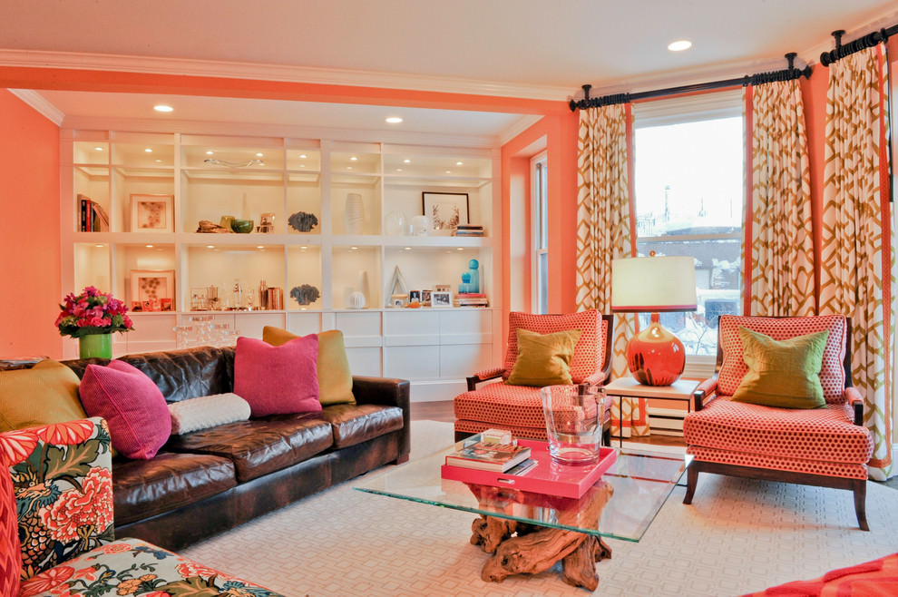 beautiful pink eclectic living room