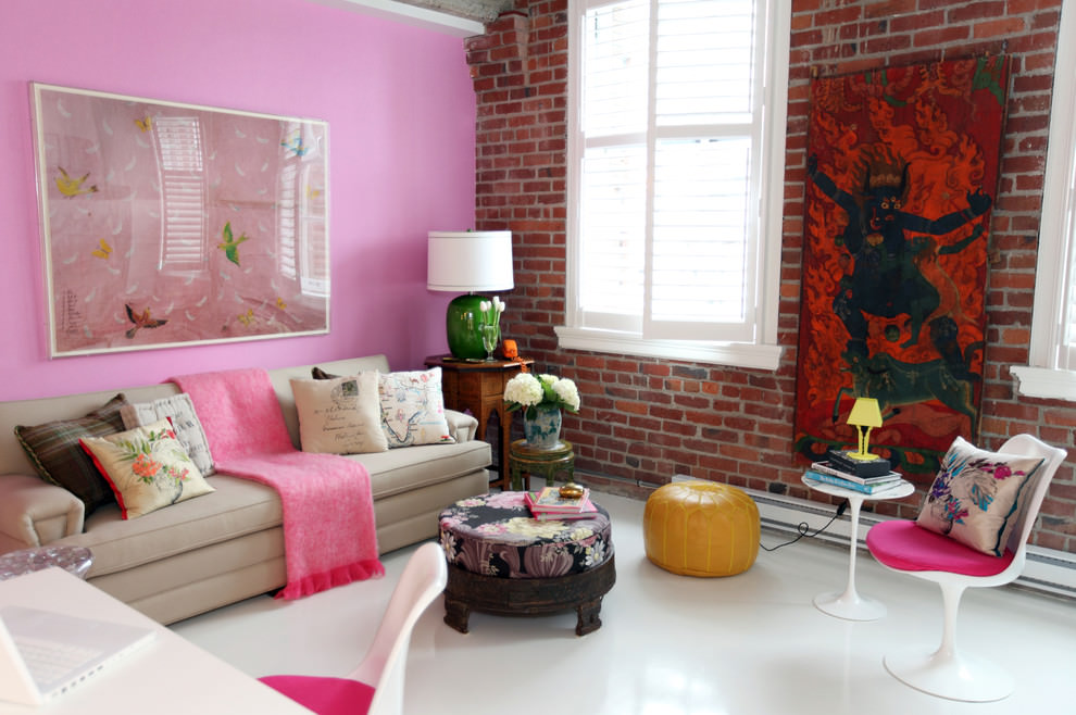 awesome pink on wall eclectic living room