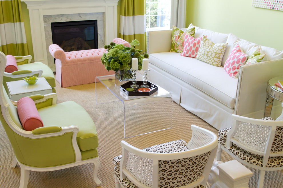 Light pink sofa contemporary living room