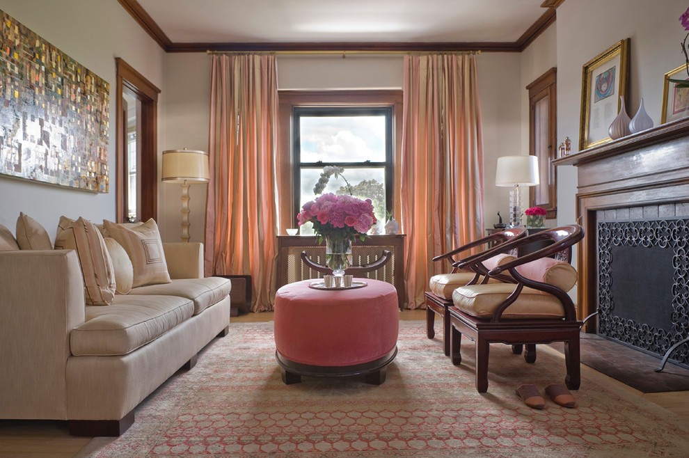 Elegant pink color traditional living room