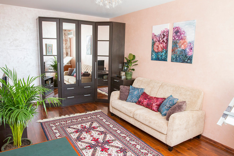 light pink eclectic living room