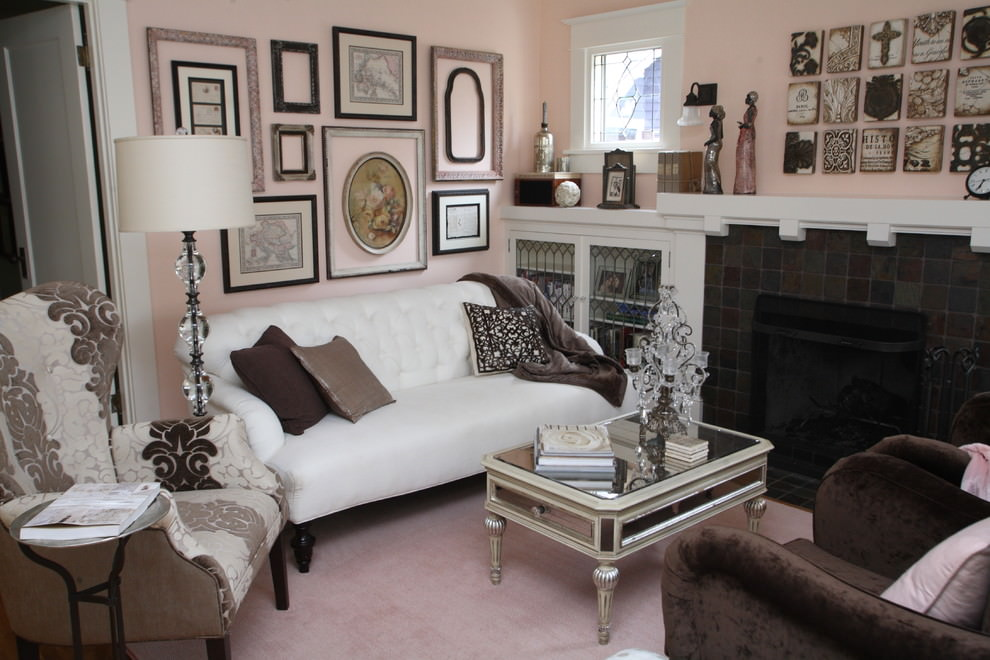 Beautiful light glam pink traditional living room