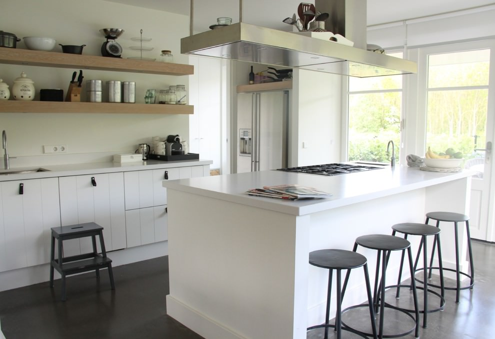 Incroyable Comtemporary Kitchen Hanging Wooden Shelves
