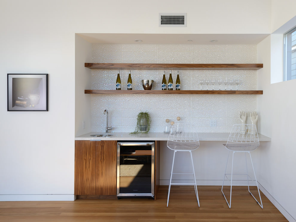 Modern Bar Wooden Hanging Shelves