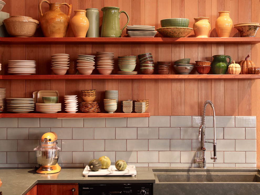 Well Organized Kitchen Wooden Shelves