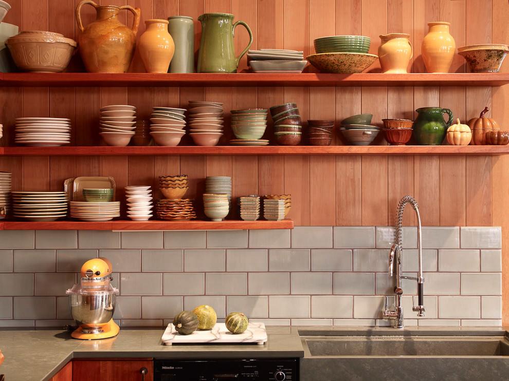 well organized kitchen wooden shelves